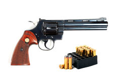 357 Revolver With Ammo Isolated  Royalty Free Stock Photos