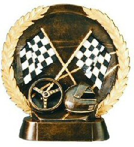 Auto Racing Trophies On Auto Racing Bronze Resin Plate