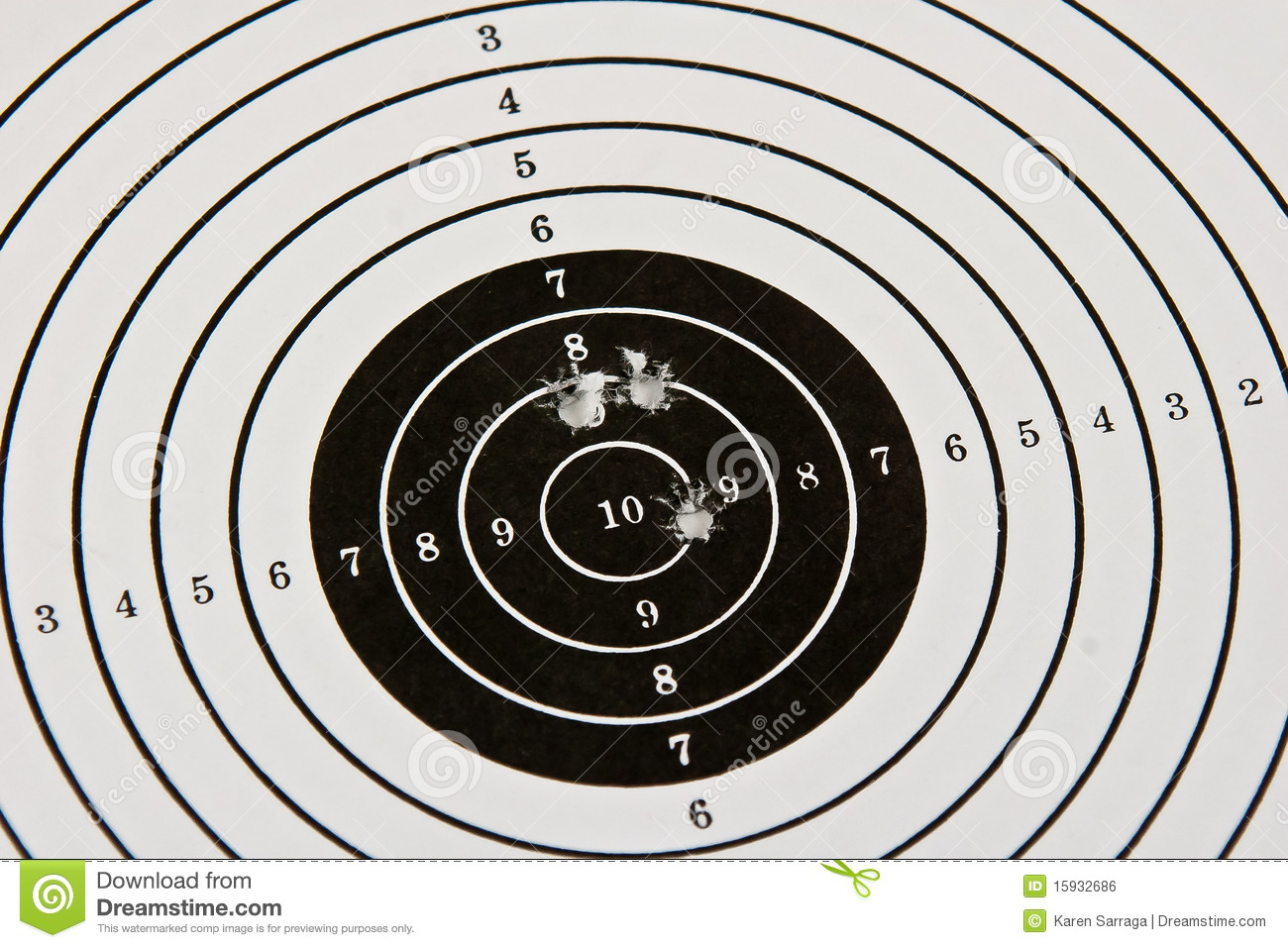 Bulls Eye Target With Bullet Holes Royalty Free Stock Image   Image