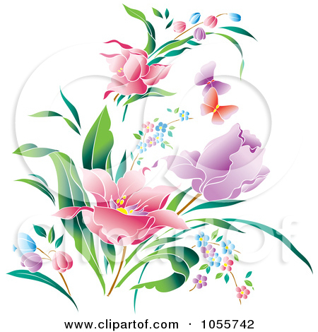 Clip Art Illustration Of Beautiful Spring Flowers And Butterflies By