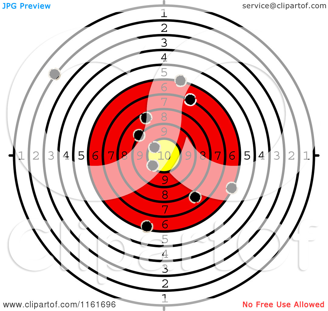 Clipart Of A Shooting Range Target With Bullet Holes Royalty Free