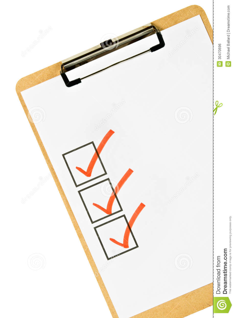 Cork Clipboard With Three Check Marks On Blank White Paper  Isolated