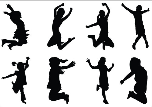 Jumping Girls Silhouette Vector Clipart   Silhouette Clip