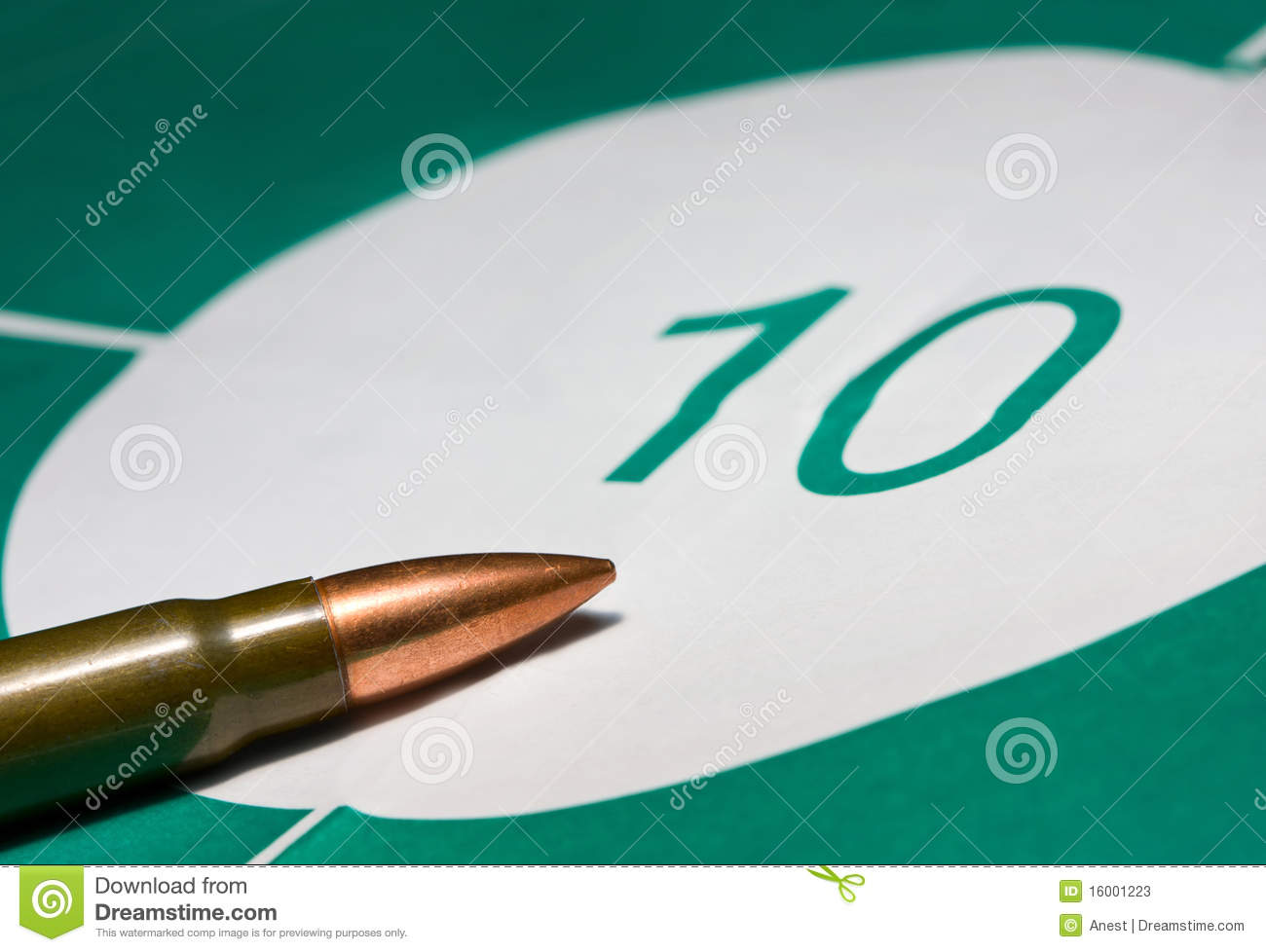 Macro Of Bullet On Bullseye Stock Photos   Image  16001223