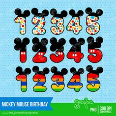 Mickey Mouse Birthday Digital Clipart Mickey Mouse Clipart   Instant