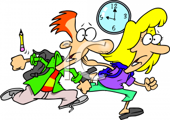 Of A Couple Of Students Running Late   Royalty Free Clipart Picture