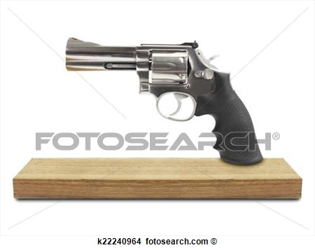 Revolvers On Wood Isolated White Background View Large Photo Image