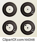 Royalty Free Rf Clip Art Of Assorted Targets With Bullet Holes
