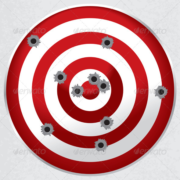 Shooting Range Gun Target With Bullet Holes   Miscellaneous Conceptual