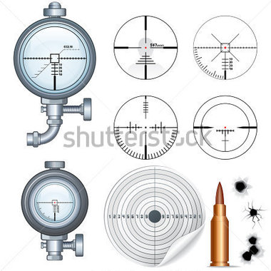 Sniper Target Scopes Optic Sight Cross Hairs Target And Bullet