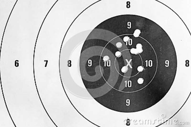 White Close Up Of A Shooting Target And Bullseye With Bullet Holes