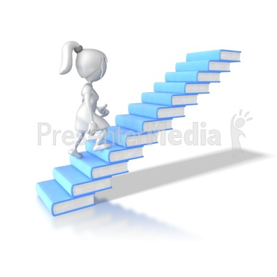 Woman Walking Up Books   Education And School   Great Clipart For