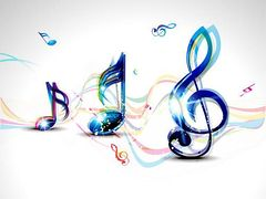 Abstract Colorful Musical Word Background