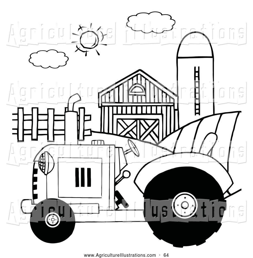 Agriculture Clipart Of A Black And White Farm Tractor In A Pasture
