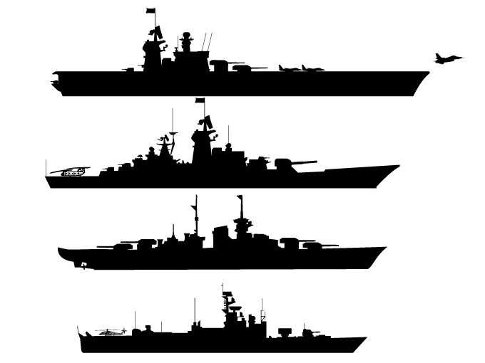 Battleship Silhouettes 11055   Free Vectors