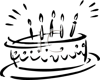 Birthday Cake Black And White Candles Clipart - Clipart Kid