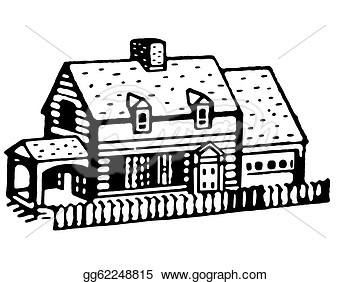 Black And White Version Of An Illustration Of A Small Bungalow Home