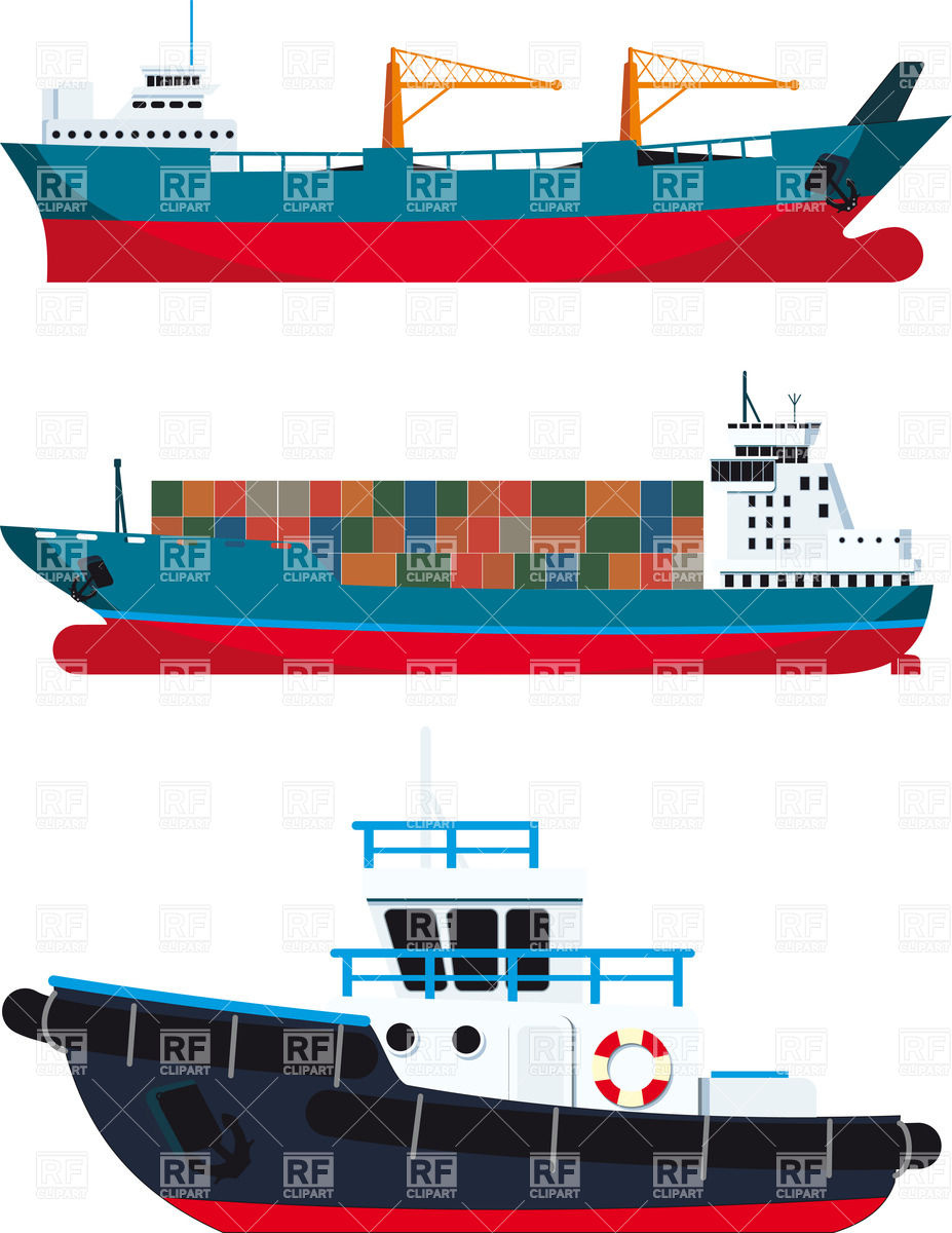 Cargo Ship And Tugboat 26131 Download Royalty Free Vector Clipart