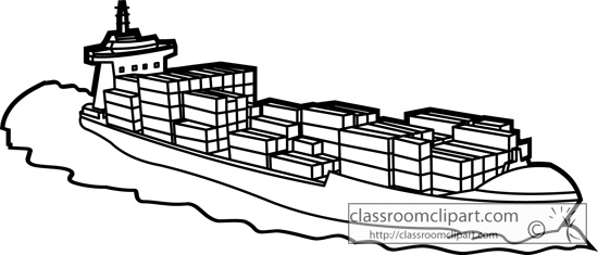 Cargo Ship With Containers Outline 2267   Classroom Clipart