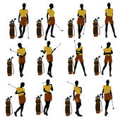Clipart Of African American Female Golf Player Illustration Silhouette