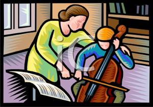 Colorful Vintage Style Cartoon Of A Teacher Instructing A Cellist
