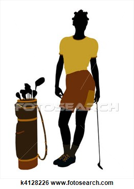 Stock Illustration Of African American Female Golf Player Illustration
