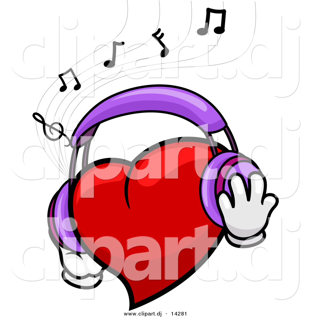 Vector Clipart Of A Cartoon Heart Character Wearing Headphones While