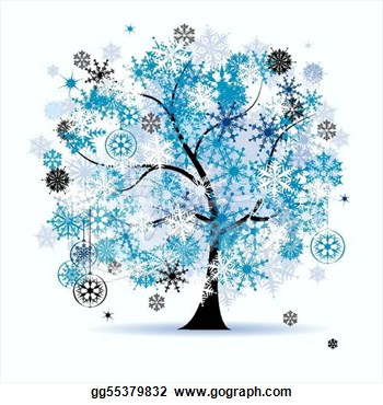 Winter Tree Snowflakes  Christmas Holiday  Stock Clip Art Gg55379832