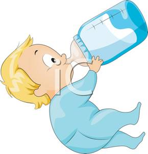 Baby Drinking From A Baby Bottle   Royalty Free Clipart Picture