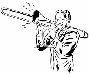 Black And White Man Playing Trombone   Royalty Free Clipart Picture