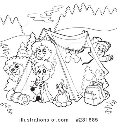 Black And White Camping Clipart - Clipart Kid