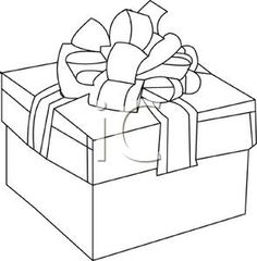 Clipart Gift Box   Outline Of Box