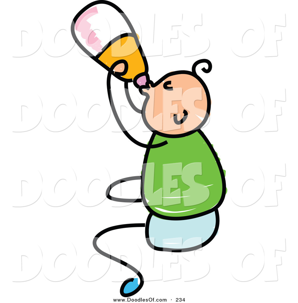 Clipart Of A Childs Sketch Of A Happy Baby Boy Drinking From A Bottle