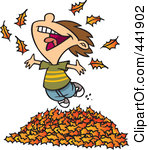 Cute Little Boy Playing In Fall Leaves With His Dog Clipart Image Jpg