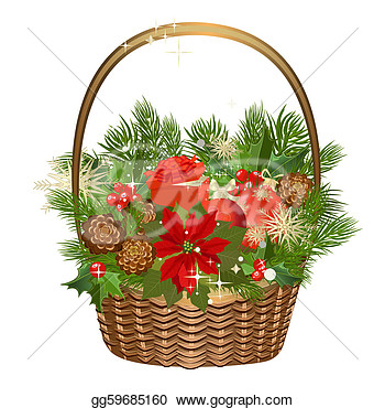 Free Holly Cli Christmas Basket Clipart Christmas Basket Clipart