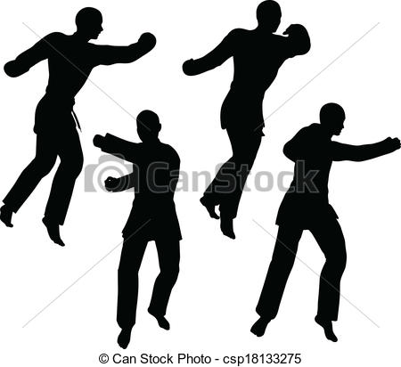 Karate Martial Art Silhouettes Of Men And Women In Fist Fight Clipart