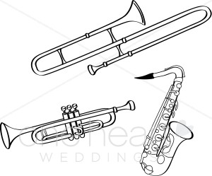 Saxophone Trumpet And Trombone Illustration In Black And White