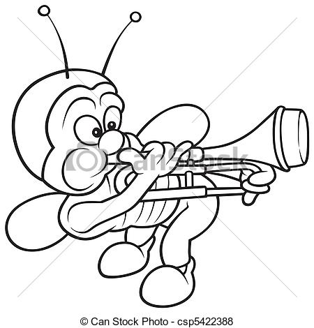 Vector Of Bug And Trombone   Black And White Cartoon Illustration