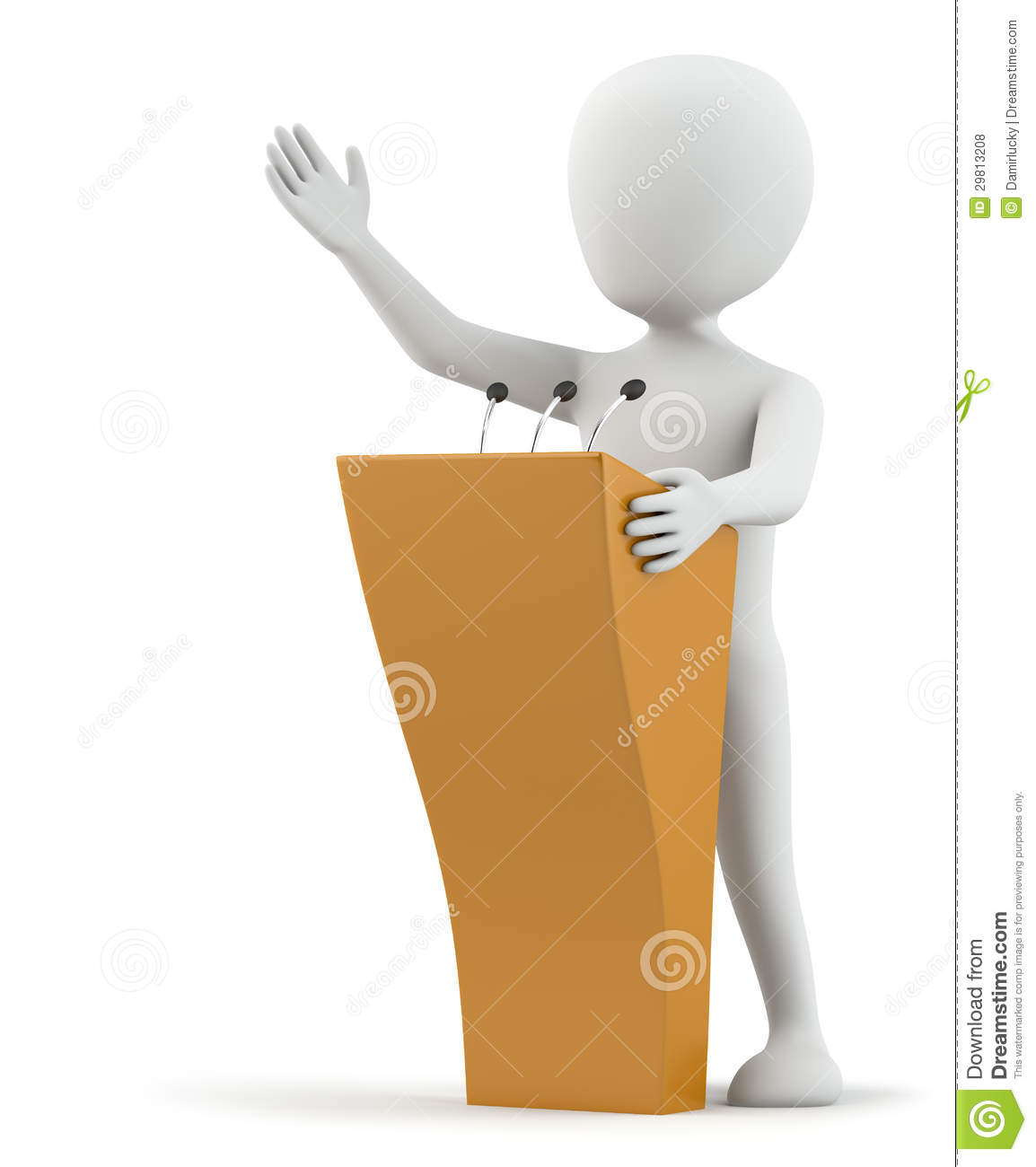 3d Small Person Speaks At The Podium  3d Image  On A White Background