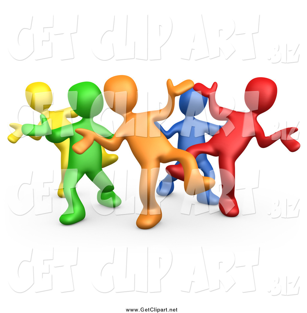 Art Of A 3d Colorful Group Dancing And Having Fun At A Party By 3pod