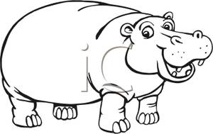 Black And White Hippo   Royalty Free Clipart Picture