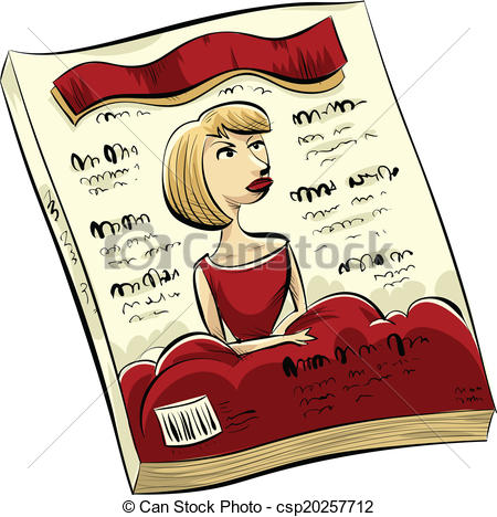 Cartoon Fashion Magazine With A Woman In Red On The Cover