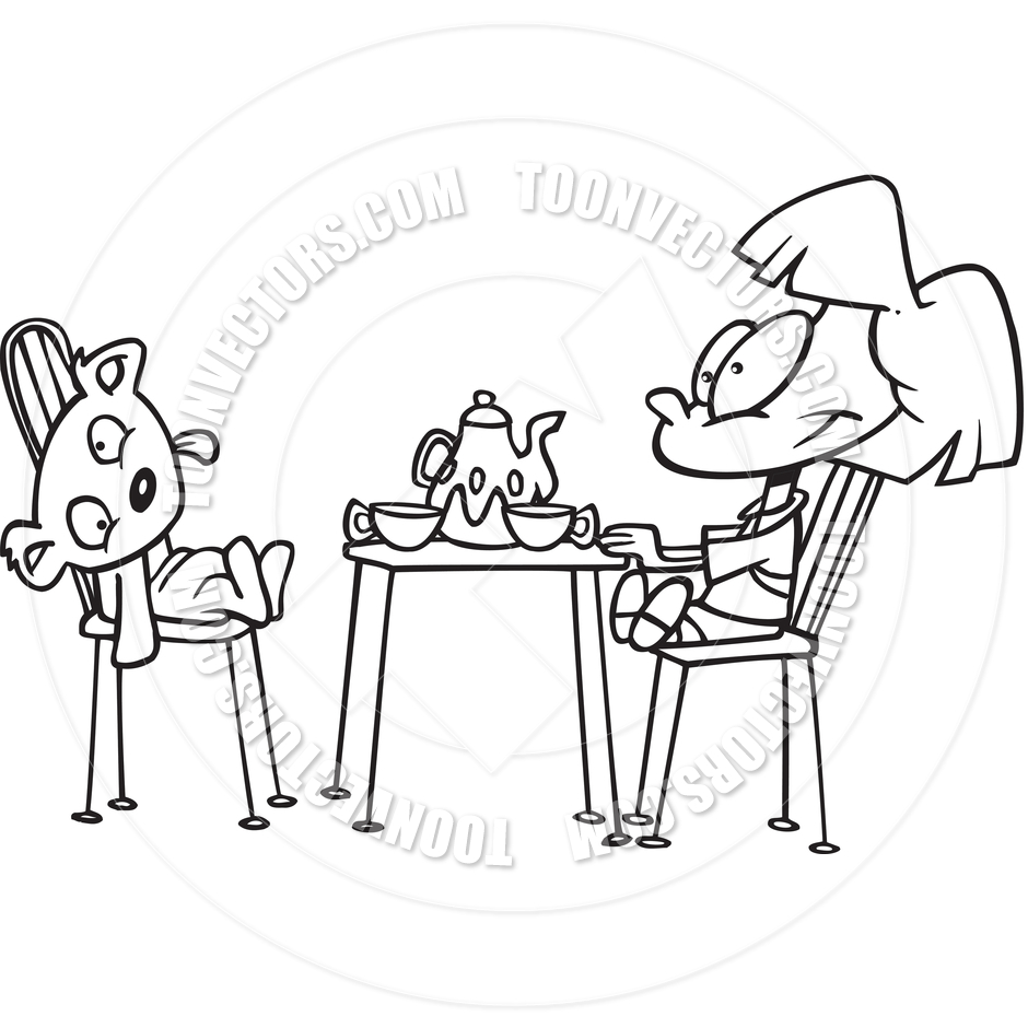 Cartoon Girl Tea Party  Black And White Line Art  By Ron Leishman