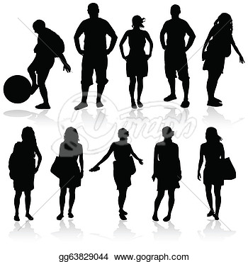 Clipart   Girl And Man Vector Silhouette Illustration  Stock