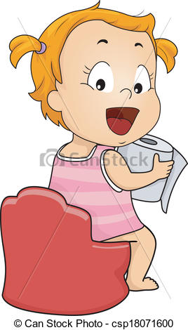 Clipart Of Potty Training   Illustration Of A Young Girl On Her Potty