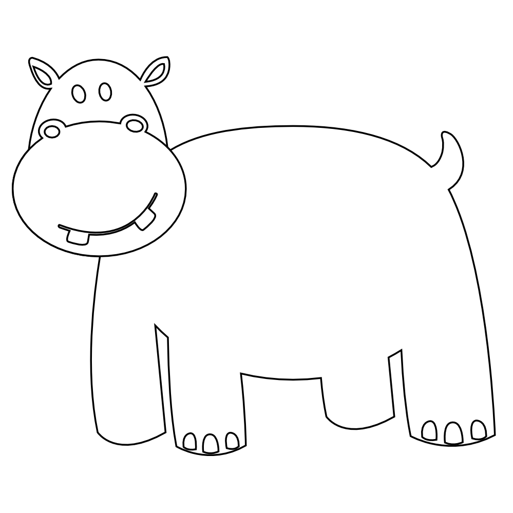 Colorful Animal Hippo Black White Line Art Coloring Book Colouring