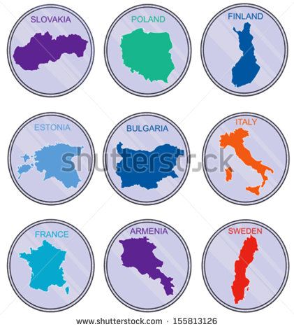 Countries Of The World On The Coins Earth Map Derived From