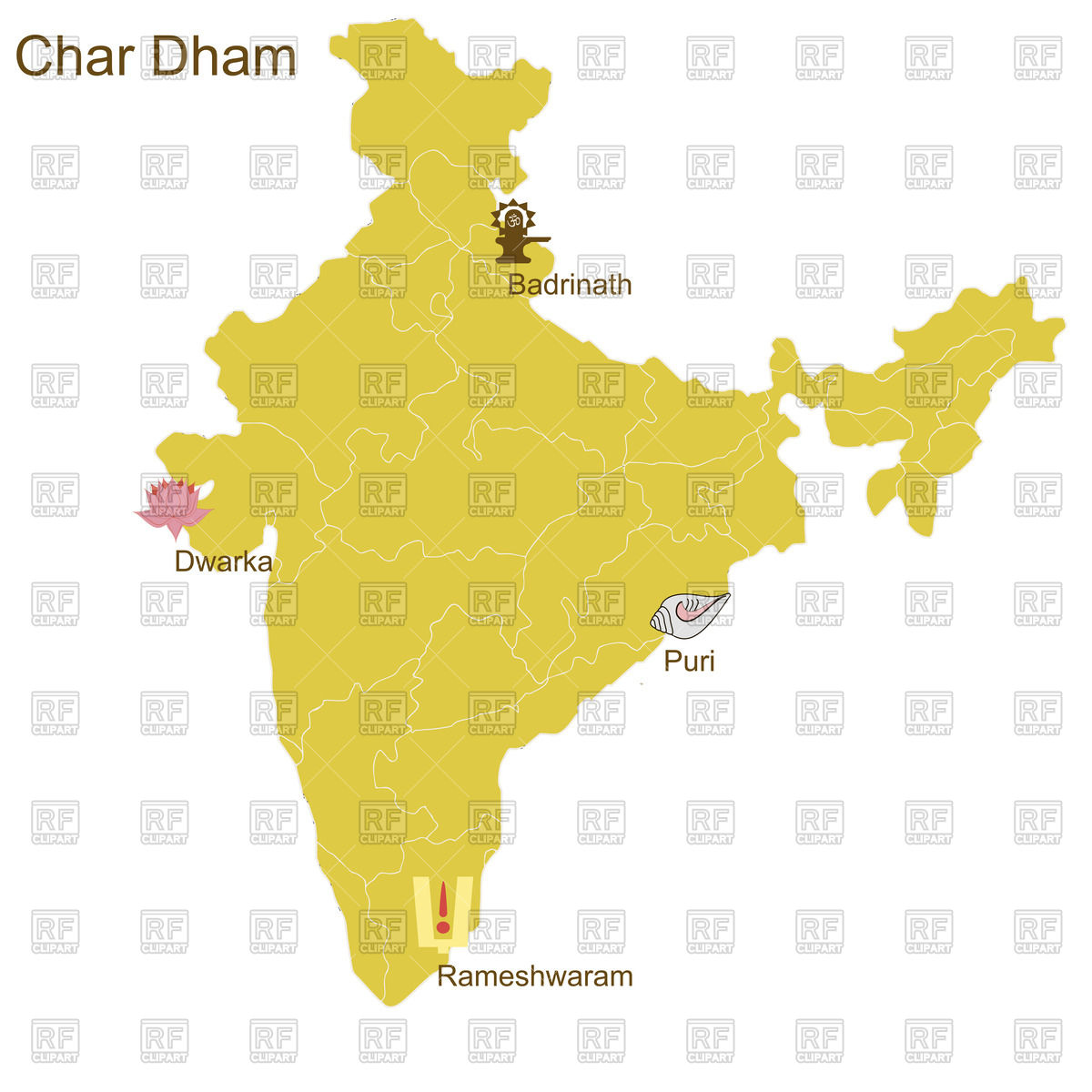 Dham On The Map Of India Download Royalty Free Vector Clipart  Eps