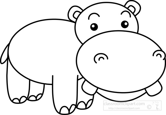 Download Big Teeth Cute Hippo Black White Outline