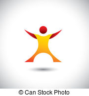 Excited Person After Winning Icon   Concept Vector Graphic Eps Vector